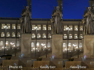 Noční fotografie Samsung Galaxy S10 vs Apple iPhone XS svaty vaclav detail