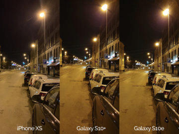 Noční fotografie Samsung Galaxy S10 vs Apple iPhone XS ulice