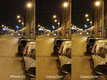 Noční fotografie Samsung Galaxy S10 vs Apple iPhone XS ulice detail