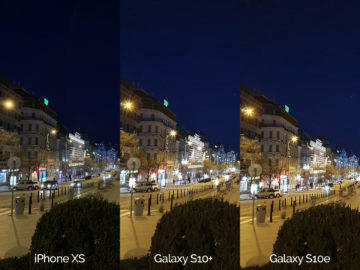 Noční fotografie Samsung Galaxy S10 vs Apple iPhone XS vaclavske namesti