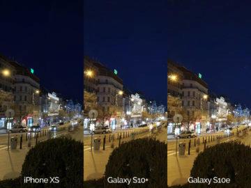 Noční fotografie Samsung Galaxy S10 vs Apple iPhone XS vaclavske namesti