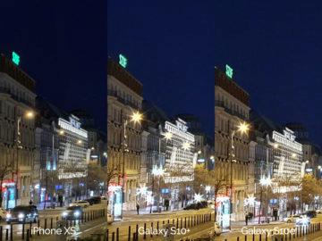 Noční fotografie Samsung Galaxy S10 vs Apple iPhone XS vaclavske namesti detail