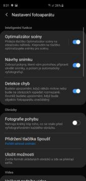 Samsung Galaxy S10 aplikace fotoaparatu nastaveni