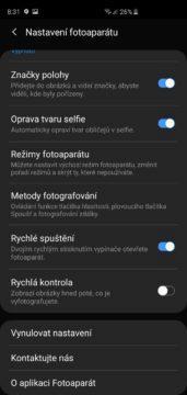 Samsung Galaxy S10 aplikace fotoaparatu nastaveni foto