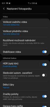 Samsung Galaxy S10 aplikace fotoaparatu nastaveni videa