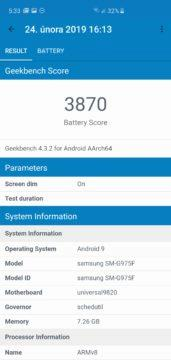 samsung galaxy s10 battery score geekbench