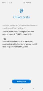 Samsung Galaxy S10 ctecka otisku prstu v displeji prvni nastaveni