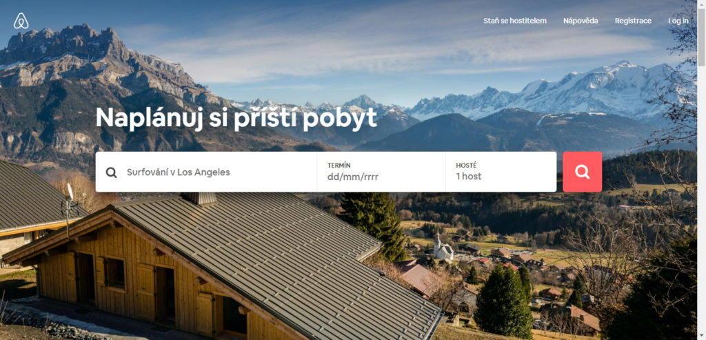 Středobodem je stránka Airbnn.com