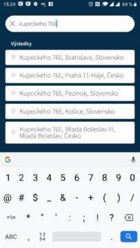 Vyhledávání v aplikaci