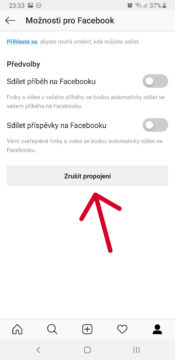 zruseni propojeni uctu facebook instagram
