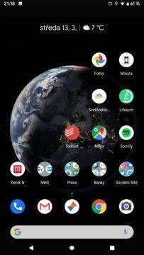 Android Q domovska obrazovka