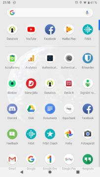 Android Q menu s aplikacemi