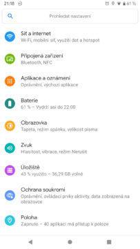 Android Q nastaveni