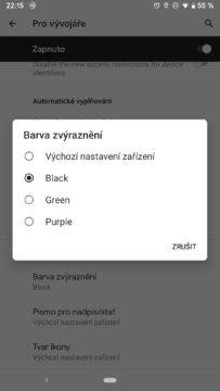 Android Q změna barvy