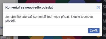 facebook postihl vypadek