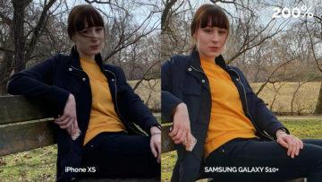 Foto srování S10 Plus vs iPhone XS - detail ženy a obličej
