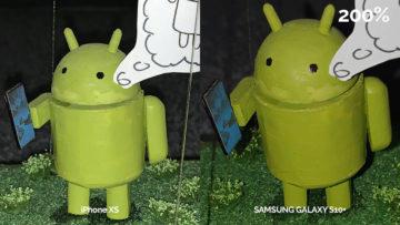 Foto srovnání s bleskem Galaxy S10 a iPhone XS - detail