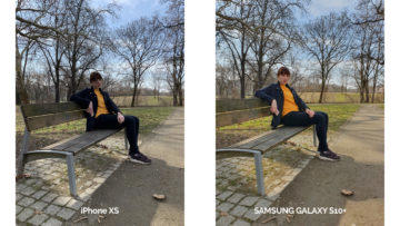 Fotografie Samsung Galaxy S10 plus vs iPhone XS - žena na lavičce