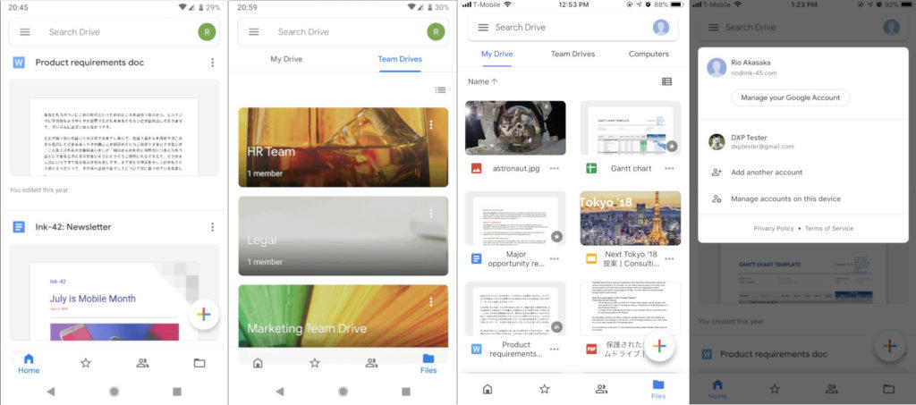 google disk redesign android ios