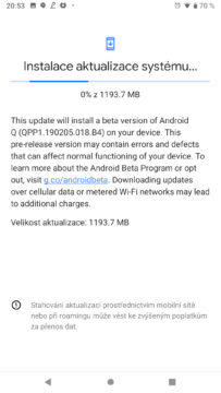 instalace aktualizace android q