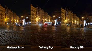 noční fotografie samsung galaxy s10 vs galaxy s9 vs galaxy s8 křižovatka