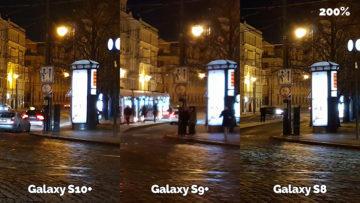 noční fotografie samsung galaxy s10 vs galaxy s9 vs galaxy s8 křižovatka detail