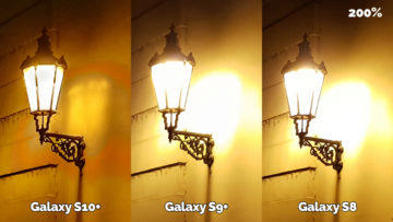 noční fotografie samsung galaxy s10 vs galaxy s9 vs galaxy s8 lampa detail