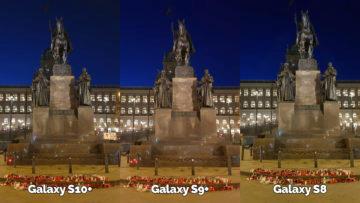 noční fotografie samsung galaxy s10 vs galaxy s9 vs galaxy s8 socha svatého václava