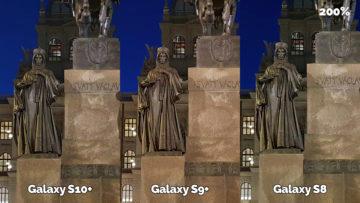 noční fotografie samsung galaxy s10 vs galaxy s9 vs galaxy s8 socha svatého václava detail
