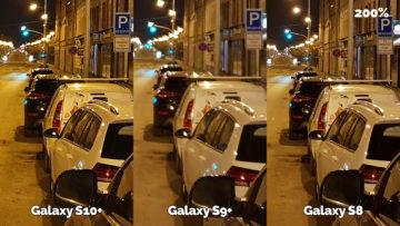 noční fotografie samsung galaxy s10 vs galaxy s9 vs galaxy s8 ulice detail