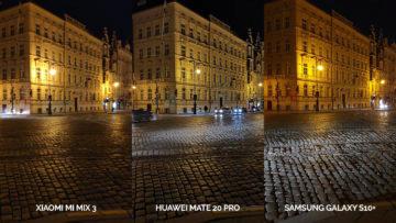Noční fototest Samsung Galaxy S10+ vs Huawei Mate 20 Pro vs Xiaomi Mi Mix 3 křižovatka
