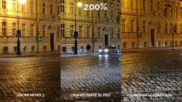 Noční fototest Samsung Galaxy S10+ vs Huawei Mate 20 Pro vs Xiaomi Mi Mix 3 křižovatka detail