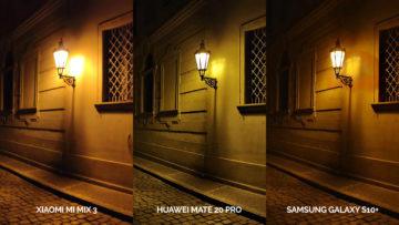 Noční fototest Samsung Galaxy S10+ vs Huawei Mate 20 Pro vs Xiaomi Mi Mix 3 lampa