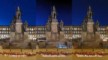 Noční fototest Samsung Galaxy S10+ vs Huawei Mate 20 Pro vs Xiaomi Mi Mix 3 socha svatého václava