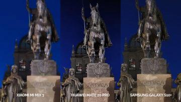 Noční fototest Samsung Galaxy S10+ vs Huawei Mate 20 Pro vs Xiaomi Mi Mix 3 socha svatého václava detail