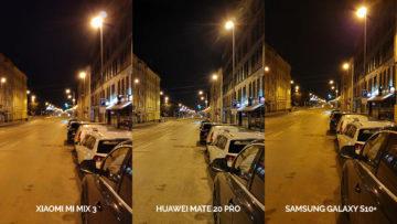 Noční fototest Samsung Galaxy S10+ vs Huawei Mate 20 Pro vs Xiaomi Mi Mix 3 ulice