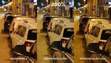 Noční fototest Samsung Galaxy S10+ vs Huawei Mate 20 Pro vs Xiaomi Mi Mix 3 ulice detail
