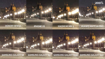 Noční fototest samsung xiaomi huawei apple honor karluv most detail