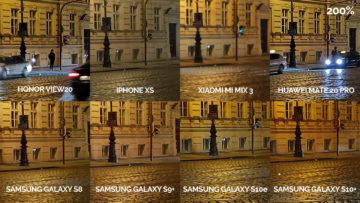 Noční fototest samsung xiaomi huawei apple honor křižovatka detail