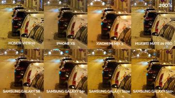 Noční fototest samsung xiaomi huawei apple honor noční ulice detail