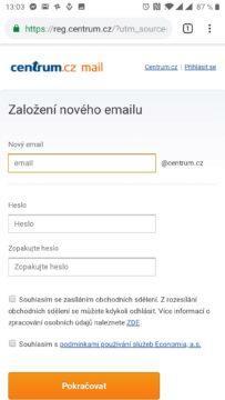 Registrace nové e-mailové schránky