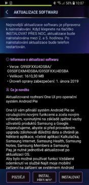 Samsung Galaxy S8 aktualizace Android 9 pie samsung one ui