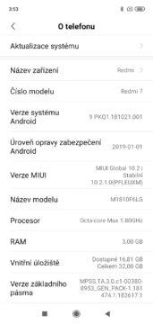 Xiaomi Redmi 7 MIUI nastaveni