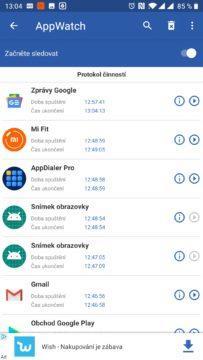 Zobrazí poslední spuštěné aplikace, včetně těch na pozadí