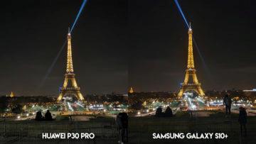 Fototest Huawei P30 Pro vs Samsung Galaxy S10 Plus eiffelova vez noc