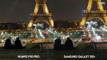 Fototest Huawei P30 Pro vs Samsung Galaxy S10 Plus eiffelova vez noc detail