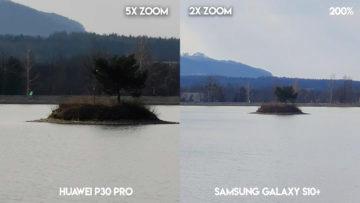 Fototest Huawei P30 Pro vs Samsung Galaxy S10 Plus jezero ostrov detail