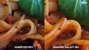 Fototest Huawei P30 Pro vs Samsung Galaxy S10 Plus jidlo detail