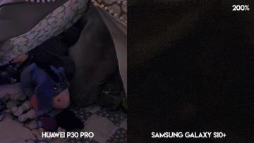 Fototest Huawei P30 Pro vs Samsung Galaxy S10 Plus noční fotografie detail