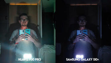 Fototest Huawei P30 Pro vs Samsung Galaxy S10 Plus noční selfie
